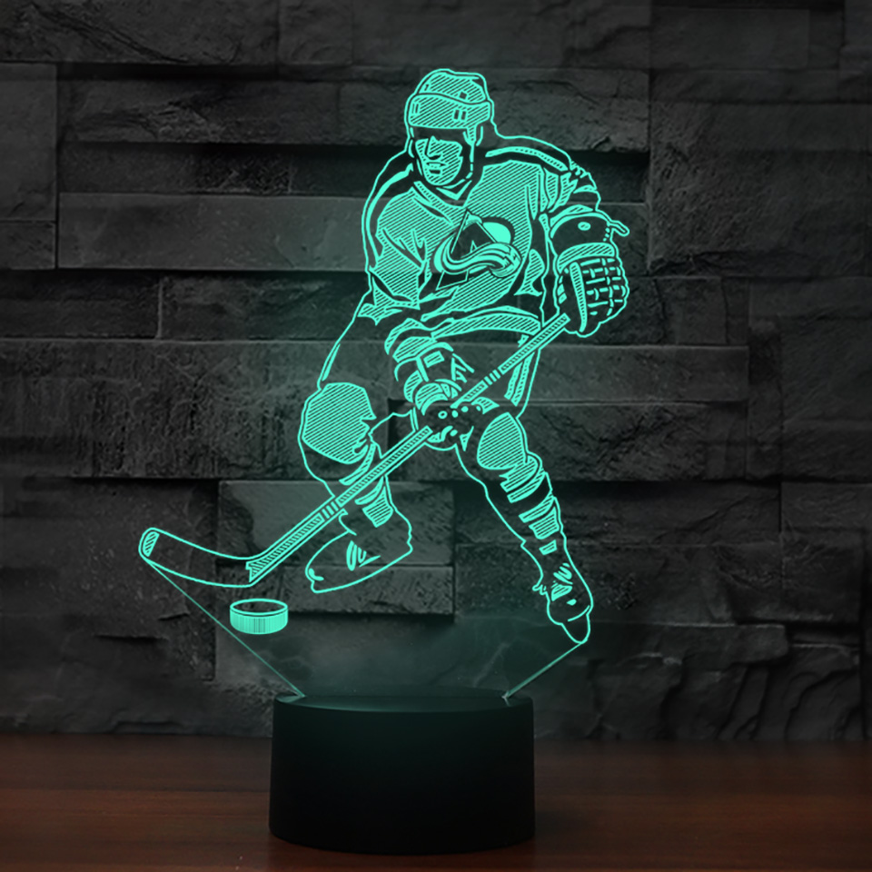 3D Led Ice Hockey Player Modelling Table Lamp Touch Button Switch Night Lights Led Sports Fans Bedroom Sleep USB Lighting Decor creative led 3d nightlight hockey for kid boy gift wall decoration holiday party hockey lighting iy303166 5