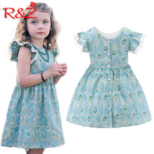 R&Z 2019 Ins Hot New Arrivals Girls Dress Flying Sleeve Peacock Pattern Lace Edge Decoration Kids Clothing k1