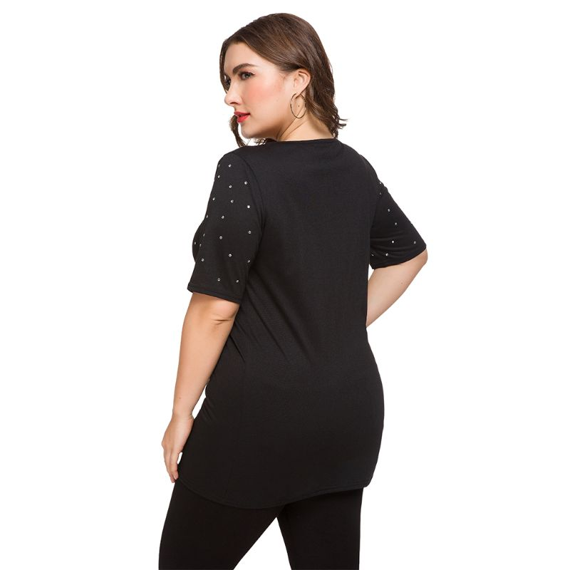 Women Ladies Plus Size Sexy V Neck Zippered Rhinestones Hot Drilling Short Sleeve Tee T Shirt Top in T Shirts from Women 39 s Clothing