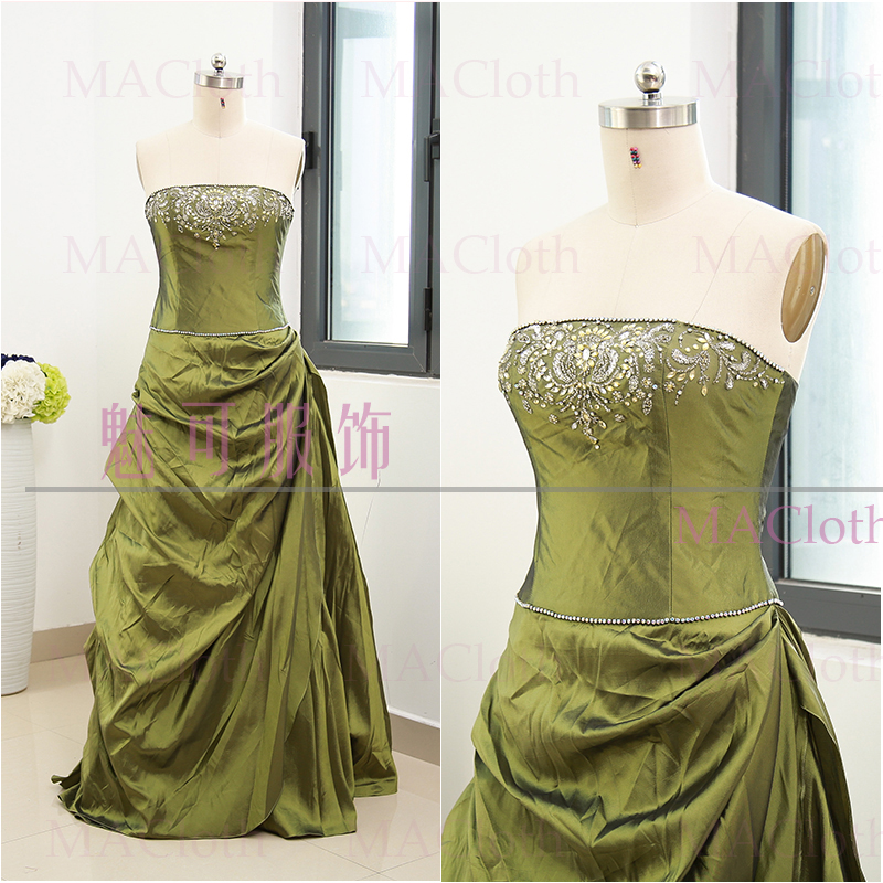 Olive Green Ball Gown Strapless Floor-Length Beading Taffeta Prom Party  Formal Evening Dress XL 261619 68fcbcdd3008