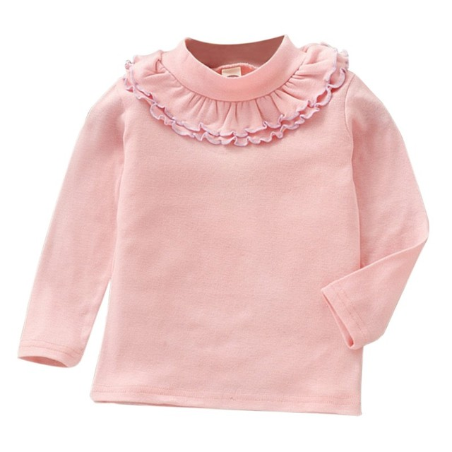 dcbb48067 Children Solid Color Lace O-Neck Shirt Long Sleeve Tops Tee Cute Clothes  For Baby Girls