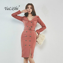 Women Plus Size Pencil Dress Autumn Pink Full Sleeve Turn-down Collar Knee-length Elegant Work Button Dress Office Club Dresses korean kawaii black elegant dress long sleeve button turn down collar autumn dress women s xl sweet simple casual dresses ladies