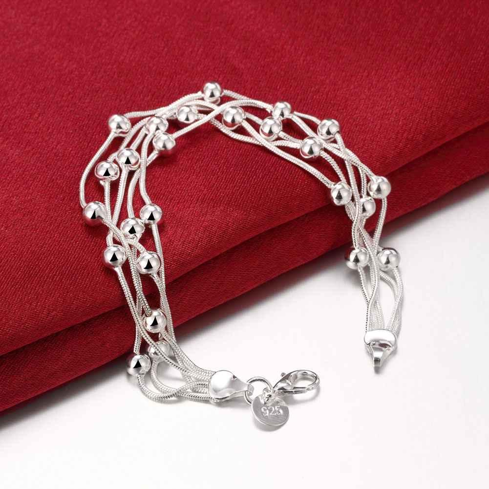 Usine vente prix argent bracelet multi lignes perles boule de bijoux De  Mode Argent Perles chaîne bracelet hommes femmes lady cadeau b693c3774f5c