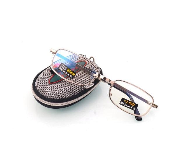 Folding is clear glass lens Men Women reading glasses hyperopia Grids lightning Case Reading Glasses + 1.0 + 1.5 + 2.0 + 2.5 + 3.0 + 3.5 + 4.0