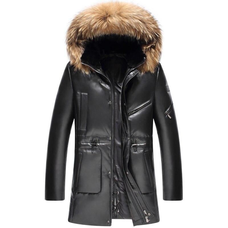Leather suede sheepskin coat men genuine leather down jacket raccoon fur trim hood medium long free shipping New Phoenix 1208C