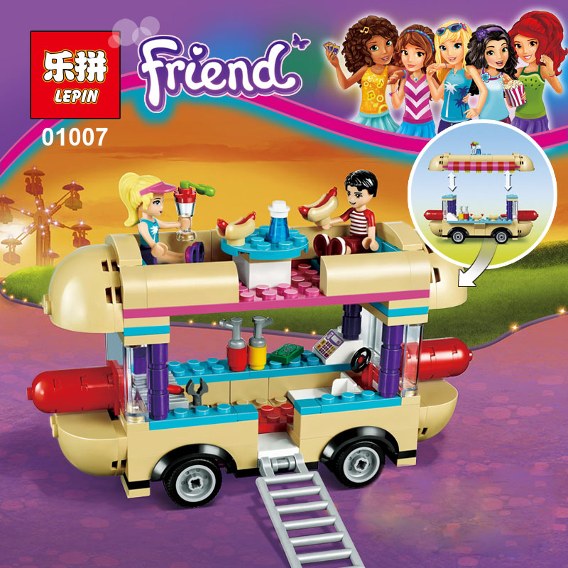 01007 Girl Friend Amusement Park Hot Dog Van Building Blocks set Kids Bricks Gift Toys friends 41129 Compatible with lego