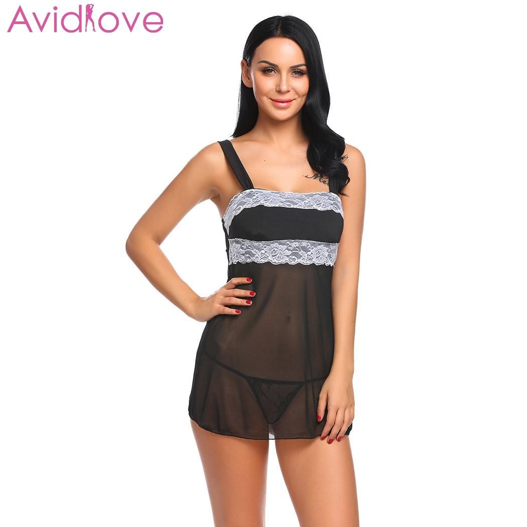 Buy Avidlove Women Sexy Lingerie Sexy Underwear Transparent Babydoll Erotic Costumes Lace-trimmed G-String Mesh Patchwork