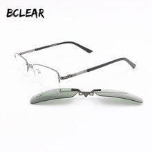 BCLEAR metallhalb optischen rahmen myopie brillen mit magnetic polarized clip auf objektiv sonnenbrille metall optische rahmen 590