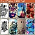 Alta Qualidade Pintura flores animais Torres Eiffel do Caso Da Tampa Para Nokia Asha 302 tampa traseira do telefone para o Nokia 302 Pura sacos