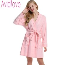 Avidlove Women Sexy Sleep Robe Long Sleeve Soft Cotton Bathrobe Knee Length Nightgown Casual Solid Nightwear Lounge Home Cloth