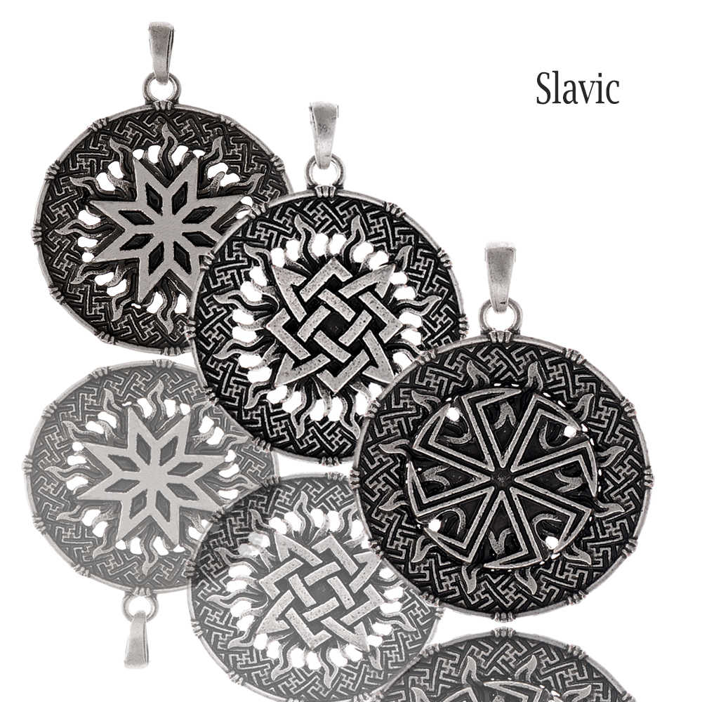 Slavic symbol pendant necklace Kolovrat Talisman Beautiful runes Pagan jewelry 1pc