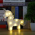 Lámpara de Mesa de Luz En Forma de Animales unicornio 3D Blanco Carta Signo Unicorn Carpa Carpa Nightlight Decoración Del Hogar de la Batería Operado