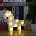 Unicórnio Unicórnio Marquise Em Forma de Animais Candeeiro de Mesa de Luz Branca 3D Assinar Carta Marquise Nightlight Decoração de Casa Bateria Operado