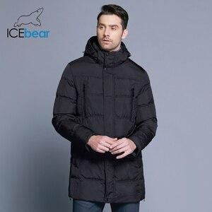Image 3 - ICEbear 2019 最高品質暖かい男性の暖かい冬ジャケット防風カジュアルなアウターウェア厚いミディアムロングコートの男性のパーカー 16M899D