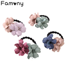 Elastic Hair Ring Flower Rubber bands Rope Cloth Headbands Ties Accessories for Women Girls