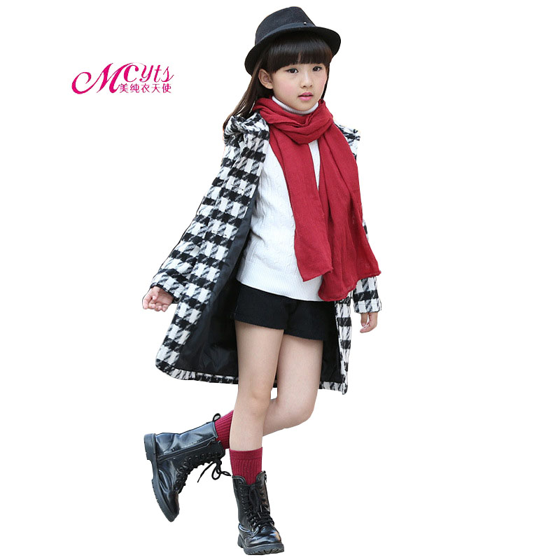 Girls Clothes Long Plaids Trench Coats Jackets For Clothing Tops Spring Autumn Fashion Children Wool Outerwear 5 7 9 11 13 Years цены