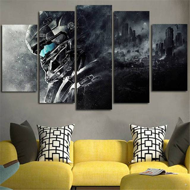 5piece Home Decoration Wall Art Canvas Prints Halo 5 Guardians Video Posters Painting