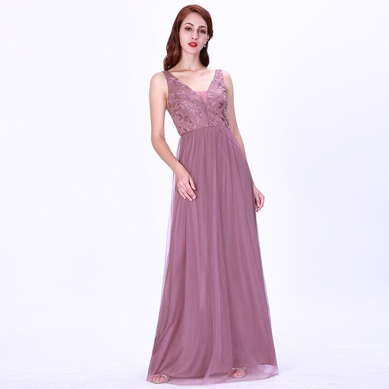 Cheap Long   Prom     Dresses   Sexy Deep V-Neck Sleeveless Gala Jurken Elegant EB07608OD Beading Embroidery Lace Women abendkleider