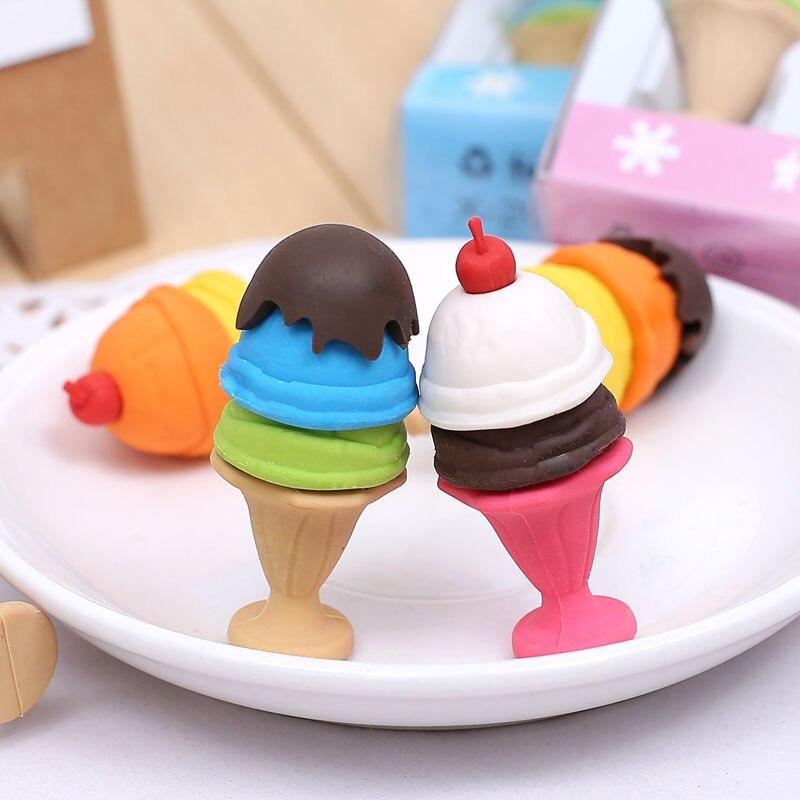 Cute Kawaii Ice Cream Eraser Creative Pencil Rubber For Kids Gift Novelty Item School Supplies Student 2277