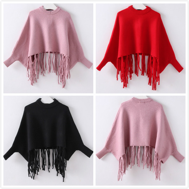 Wholesale  2016 new children autumn girls solid pure pink black red tassel Poncho bat-wing sweater