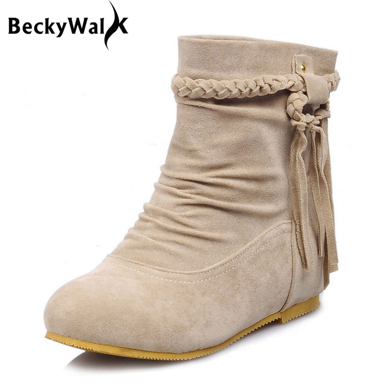 759914a80d15 Autumn Winter Casual Women Boots Tassel Flat Ladies Ankle Boots Winter  Hidden Wedges Women Shoes Big
