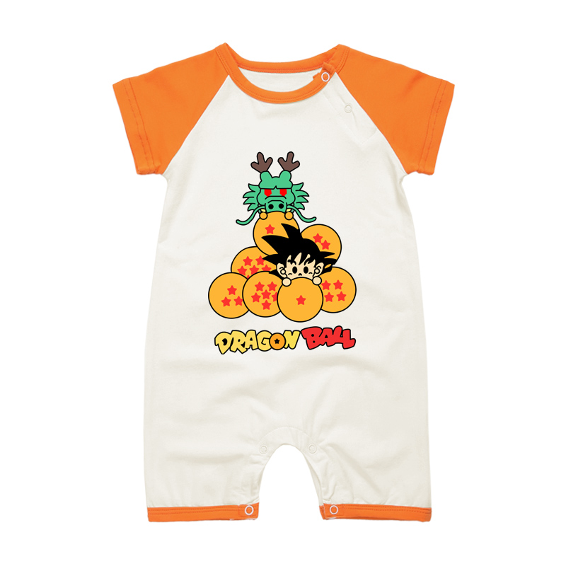 2017 Short Sleeve Summer Newborn Baby Rompers Dragon Ball Cartoon Style Baby Boy Girl Jumpsuits Infant Pajamas Clothing 2018 summer style baby rompers newborn baby boy girl clothes infant clothing blue and red short sleeve cartoon printing jumpsuit