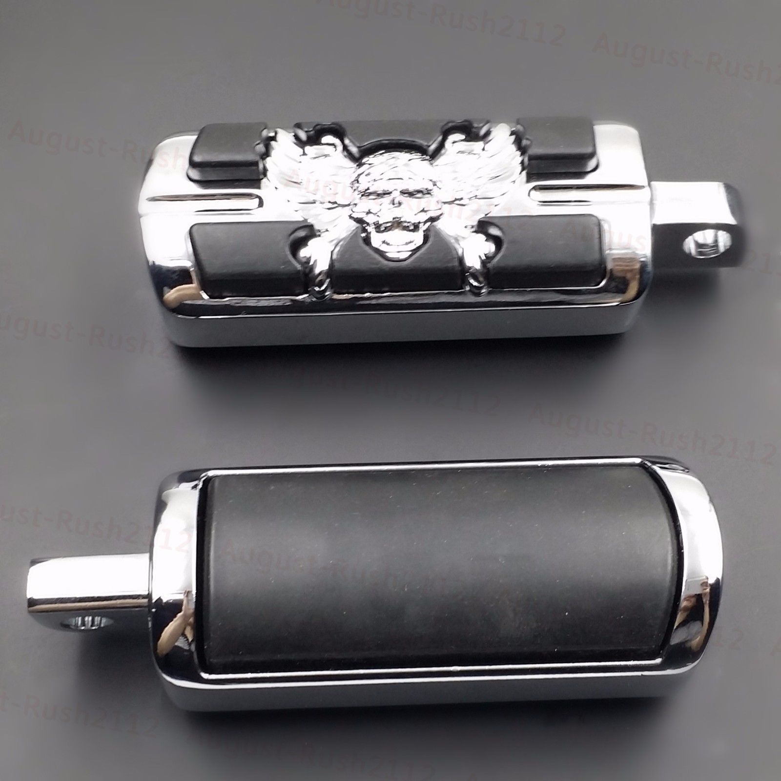 Chrome Skull Wing Foot Pegs Footpegs Support For Harley Male Mount Motorcycle chrome stiletto foot pegs w
