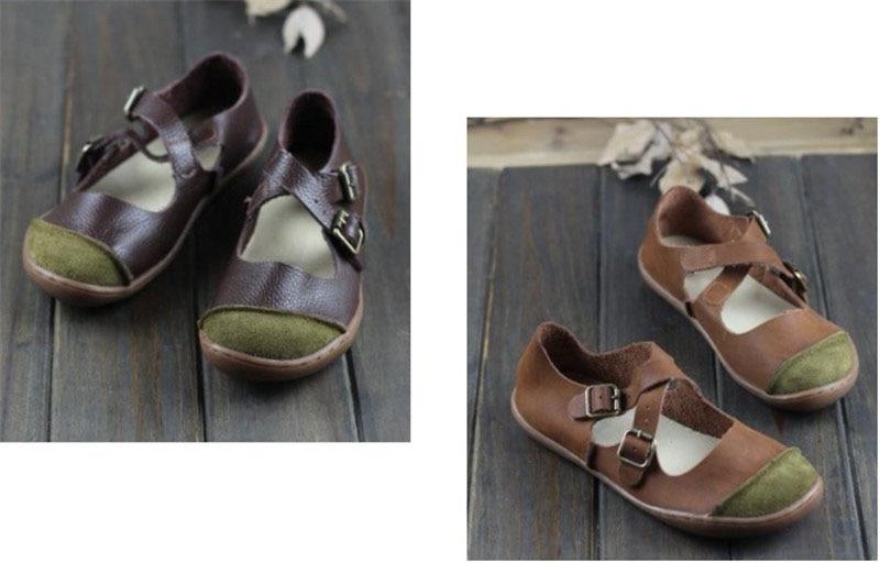 Genuíno Senhoras Cinta Fivela Sapatos de Sola Plana E098