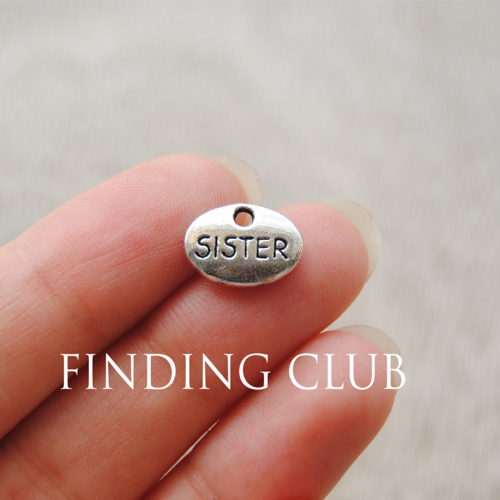 Obliging 50 Pcs 12x9mm Antique Silver Letter sister Word Pendant Charms Metal Bracelet Necklace Jewelry Findings A719 Charms