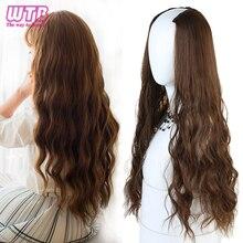 """WTB длинные волнистые Culry u-образные половина парик для женщин 2"""" натуральные женские длинные черные коричневые парики термостойкие синтетические поддельные волосы"""