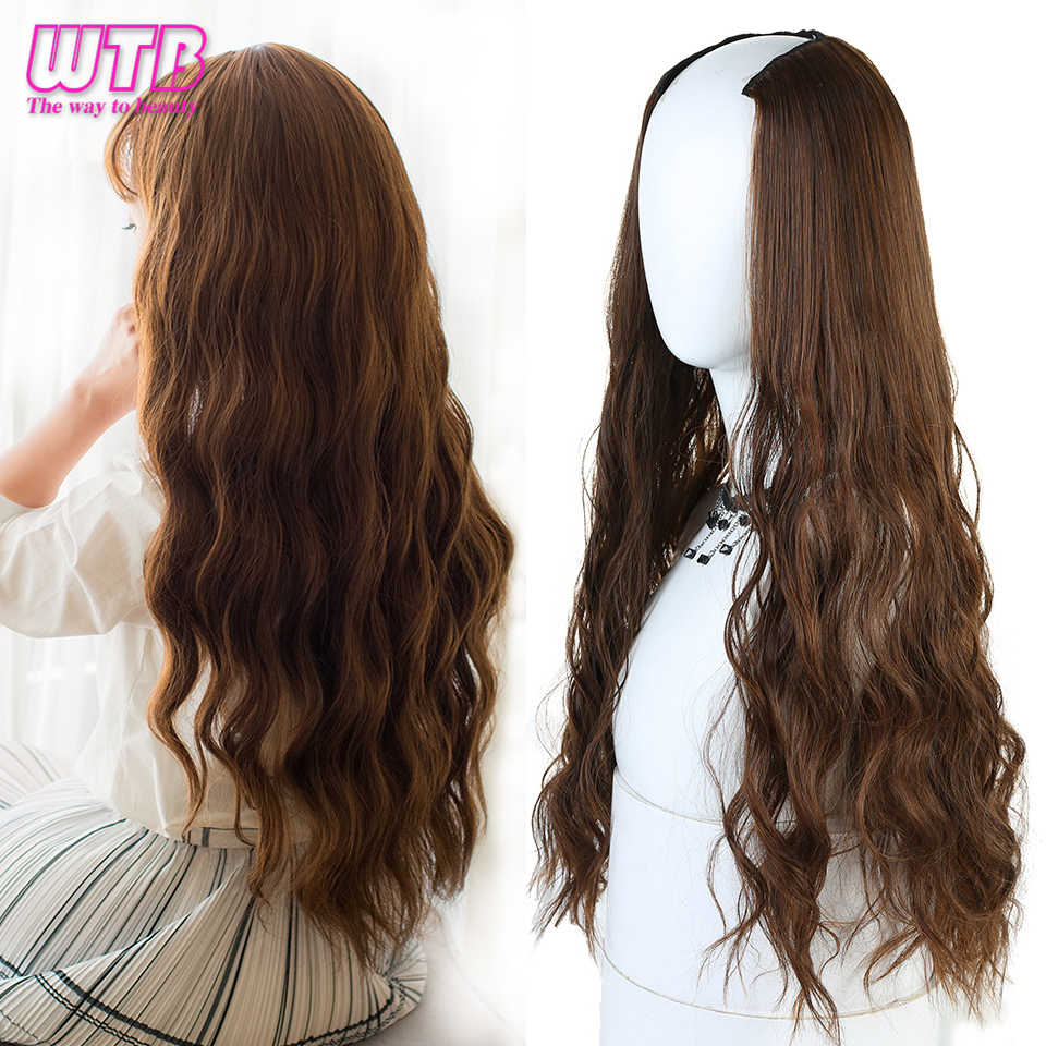 "WTB Long Wavy Culry U-Shaped Half Wig for Women 24"" Natural Female Long Black Brown Wigs Heat Resistant Synthetic Fake Hair"