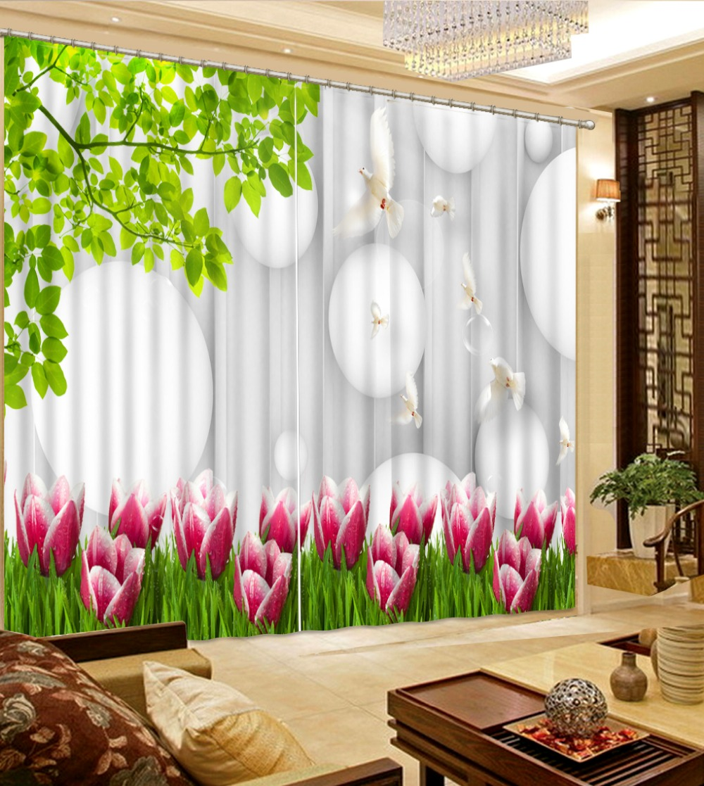 modern living room curtains Custom any size Green leaves flowers ...