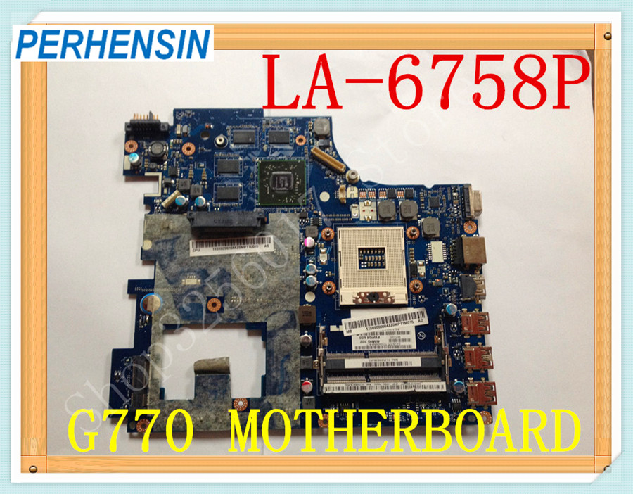 For Lenovo G770 Y770 Laptop MOTHERBOARD PIWG4 LA-6758P free shipping new piwg4 la 6758p rev 1a mainboard for lenovo y770 g770 motherboard with amd 6650m graphic card