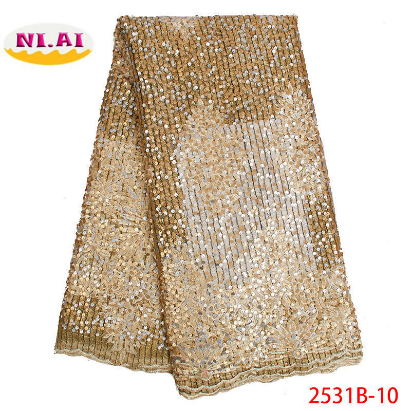 Latest African Tull Lace Fabrics High Quality Lace 2019 Nigerian French Net Lace Fabric with Sequins