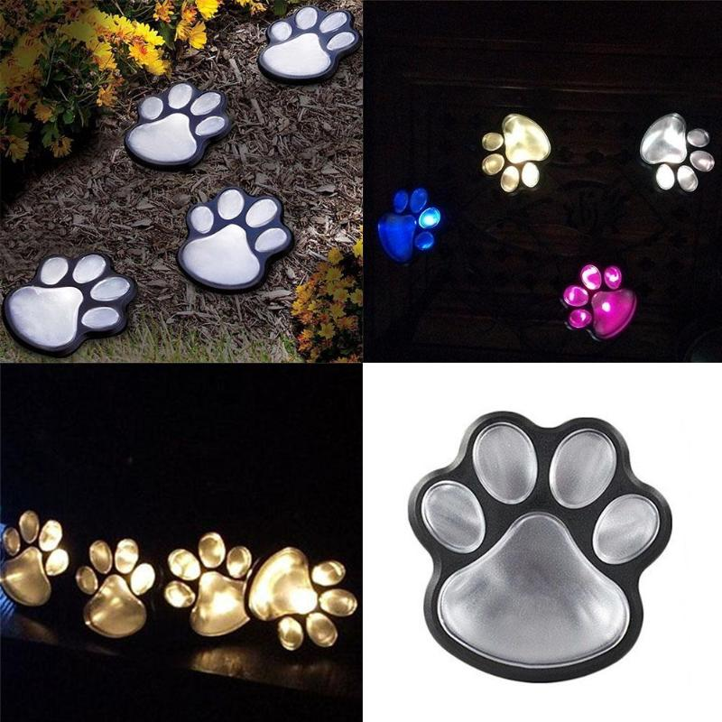 4 Solar Cat Animal Paw Print Lights LED Solar Lamps Garden Outdoors Lantern Path Decorative Lighting Footprints Lamp