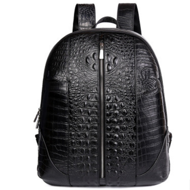 Alligator Genuine Leather Men Backpack First Layer Cow Leather Causal Multi-Purpose Travel Bags Men Fashion Casual Backpack 17 inch first layer cowhide leather backpack for men laptop bags genuine leather men backpack casual travel backpacks