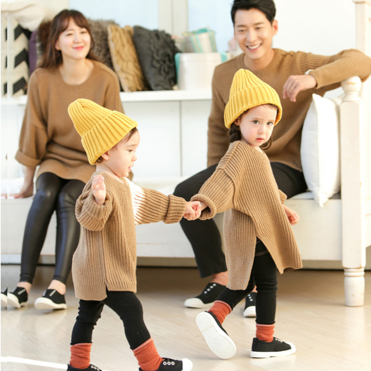 купить Family matching clothes solid sweater family look family clothing mother and daughter clothes father son matching clothes по цене 1788.33 рублей