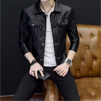 Red Green Black Leather Jacket For Men Single Breasted Pu Zhongshan Jacket Spring Autumn Mens Slim Fit Pu Jackets and Coats 4XL