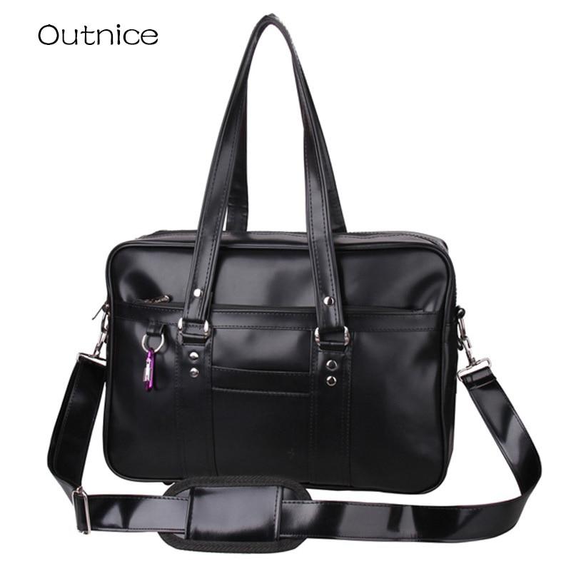 ФОТО Japanese School Handbags High College Students Uniform Bag Unisex Shoulder Bags Messenger Bags PU Leather For Women Men Kabelky