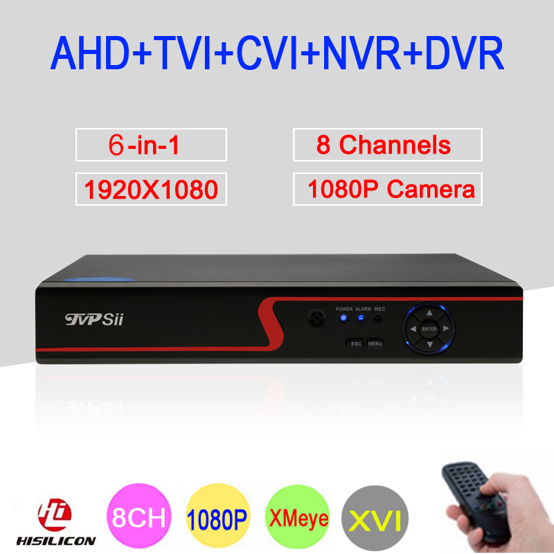 Red Panel Hi3521A XMeye 8 Channel 8CH 1080P Surveillance Video Recorder 6 in 1 Hybrid WIFI NVR TVI CVI AHD DVR Free Shipping red panel 1080p surveillance camera 1080n h3521a xmeye 25fps 8ch 8 channel 5 in 1 hybrid wifi nvr cvi tvi ahd dvr freeshipping