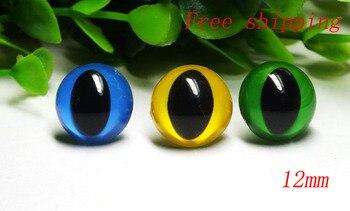 free ship!!!12mm bule-yellow-green colors Animal Eyes Safety Eyes CAT Eyes for Amigurumi-60pcs
