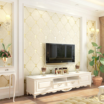 цена на High-grade deer suede European TV background wall paper decoration non-woven simple modern living room bedroom wallpaper