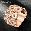Ronda Hollow Cubic Zirconia Anillo Chapado En Oro Rosa de Joyería de Moda CZ Piedra Anillos de Boda de La Vendimia Para Las Mujeres Al Por Mayor DFR003
