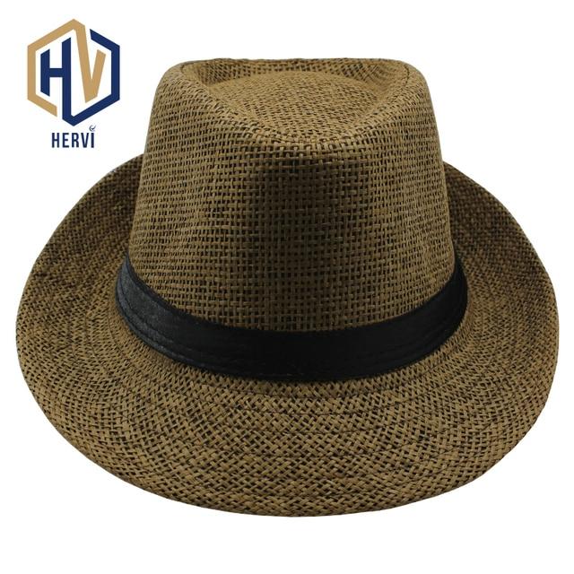 f272142f6b1 2018 Top Brand Men Fashion Straw Hat Solid Summer Casual Caps Sea Beach  Sunlight Male Topi