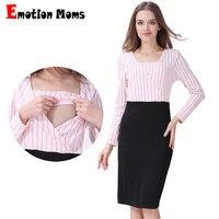 Emotion Moms Maternity Clothes Pregnancy Dress Breastfeeding Dresses for Pregnant Women Fashion Spring Autumn Nursing Dress