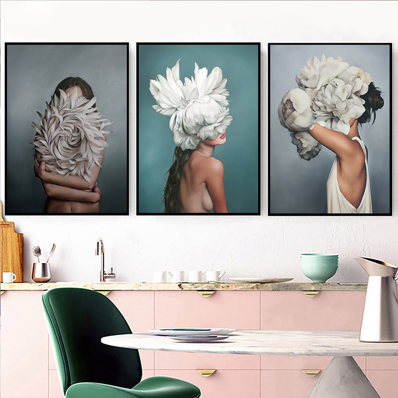 HTB1Q g7KCzqK1RjSZPcq6zTepXaZ Abstract Flower Avatar Girl Canvas Painting Wall Painting Print Poster Wall Art Bedroom Living Room Modern Home Decoration