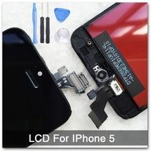 Negro 100{e3d350071c40193912450e1a13ff03f7642a6c64c69061e3737cf155110b056f} de garantía de a + + + pantalla para iphone 5 lcd pantalla táctil del digitizador assembly + herramientas + original con digitalizador de vidrio
