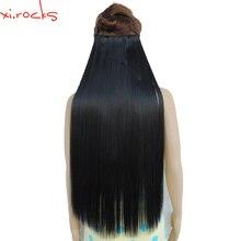 Wjz12070/1 #5 peça xi. rochas peruca sintética no comprimento da extensão do cabelo em linha reta grampos de fibra fosco jet preto cor perucas