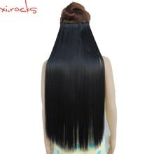 Wjz12070/1 #5 szt. Xi. rocks peruka syntetyczna do przedłużania włosów długość proste klipsy do włosów matowe włókna kruczoczarny kolor peruki
