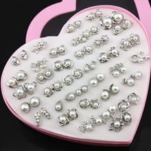 36 pairs Mix Lot Silver Color Imitaton Pearls Earring Studs Allergy Free Star Flower Triangle Shapes